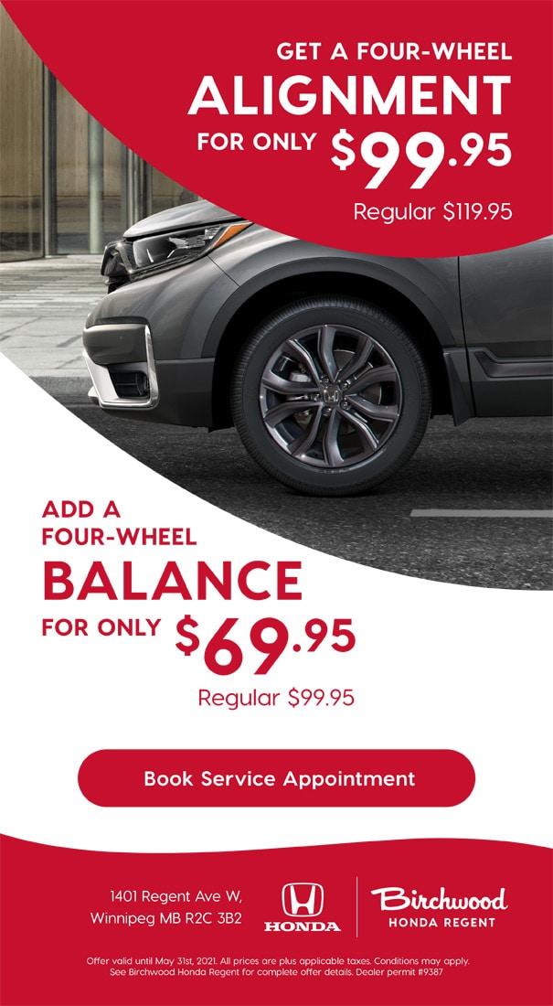 Birchwood Honda West Alignment Balance Service Specials May
